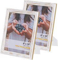 Set of 3 Photo Frames, White with Gold Frame Accents – 5x7 Picture Frame for Aesthetic Room or Office Decor, Use as Picture Frame Collage, Wall Mount Table Stand Photo Display - 3 Picture Frames 5x7
