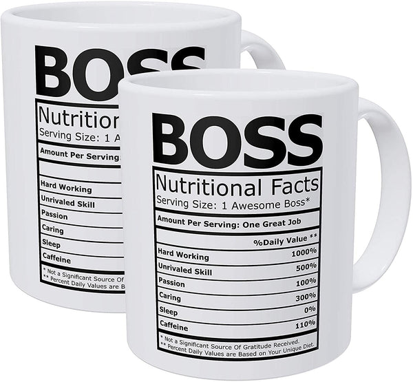 Willcallyou Pack of 2 Boss Nutritional Facts 11 Ounces Funny White Coffee Mug