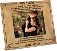 KWOOD Engraved Natural Wood Photo Frame - Picture Frame from Mom to Son - I'll Always Carry You in My Heart - Wood Frame Birthday Graduation Gift.