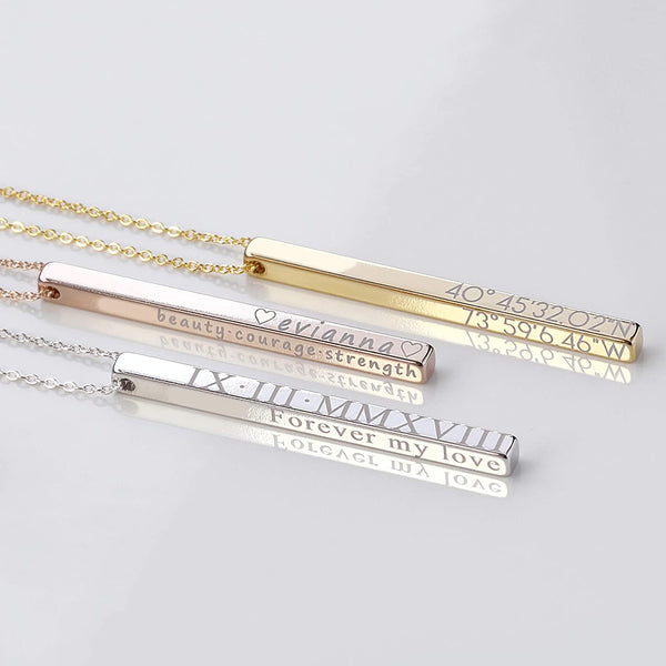 Personalized Vertical Bar Necklace Coordinate Jewelry Mothers Day Gift for Her Roman Numeral Graduation Gift Engraved 3D Necklaces for Women Initial Necklace - 4SBN
