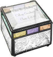 Personalized Graduation Gift for Girl Women Jewelry Box Engraved Glass Keepsake High School Graduate College Grad Class of 2020 Daughter Granddaughter Friend Blue Purple Green Peach J Devlin Box 905
