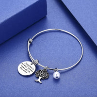CJ&M Graduation Gift,Personalized Teacher Bangle Bracelet, for Teacher, Gift from Student, Personalized Teacher Jewelry
