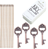 Aokbean 52 pcs Antique Crown Key Opener with Tags and Keychains,Vintage Skeleton Key Bottle Opener for Wedding Guest Gift Souvenir Party Favors Decoration (Copper)