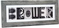 Creative Letter Art Personalized Name Created with Black and White Architectural Alphabet Photographs Including 8 by 20 inch Frame for Personalized Gift, Wedding, Graduation, Anniversary, Baby Name