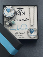 Personalized Nurse badge, Teal RN Graduation Gift Set, matching silver necklace and custom card