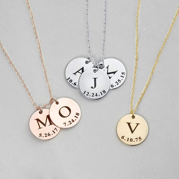 Delicate Initial Disc Necklace Coin Graduation Gift Mothers Day Gift for Her Personalized Initial Jewelry for Women - LCN-ID-L