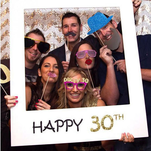 Happy 16/18/30/40/50/60th Paper Photo Booth Props Photo Frame Anniversary 30 years Birthday Party Gift Graduation Photocall Boda