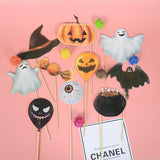 10pcs/Set Halloween Ghost Pumpkin Photo Props Party Supplies Decoration Bat Spider Photo Booth Graduation For Halloween Party