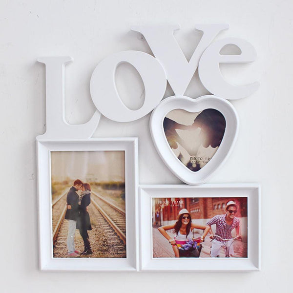 Photo Frame 3 in 1 Hollow Love Heart Plastic Picture Family Photo Frame DIY Bedroom Wedding Wall Decor Graduation Party Photo