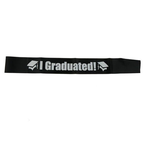 1PC Party Supplies Gift Graduate High School Celebration Black White I Graduated Satin Sash Single Sided Party Photo booth Props