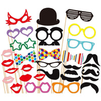 Behogar 31 PCS DIY Photography Photo Booth Props Kit for Halloween Wedding Birthdays Graduate Party Selfie Dress-up Accessories