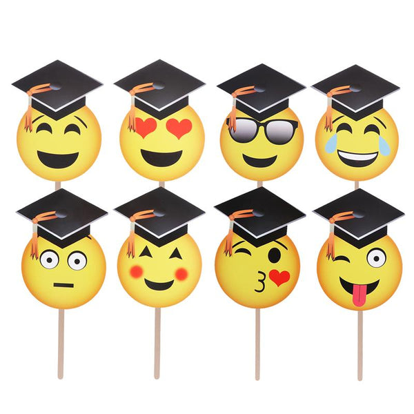 8 Pcs Facial Expressions Photo Booth Props Creative Face Photo Posing Props for Graduation Decoration