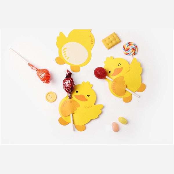 50pcs/lot Yellow Duck Style Handkerchief Card DIY Gift Decorations Paper Cards Cute Reward and Message Card Lollipop Cards