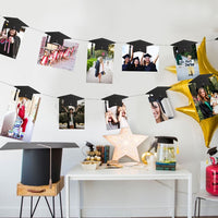 4M 18Pcs Graduation Hats Magnetic Cable Photo Frame Banner Decorations Graduation Bunting Banner Hanging Garland Set Photo Props