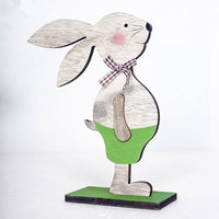 Easter Rabbit Wooden Desktop Decoration Wood Crafts Home Office Decors Cute Bunny Easter Ornaments Happy Easter Party Decor Gift