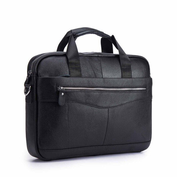 "Men Genuine Leather Antique Fashion Business Briefcase 15.6"" Laptop Case Attache Portfolio Bag One Shoulder Messenger Bag 1118-b"