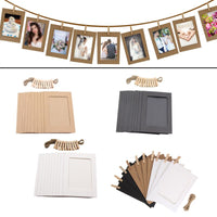 10pcs Photo Frame For Picture Wooden Photo Frame Clip Paper Picture Holder Wedding Wall Decor Graduation Party Photo Booth Props