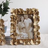 "Hot Selling Newest 5 ""6"" 7 ""8"" Golden Ginkgo Biloba Creative Photo Frame Deck Resin Photo Frame Home Graduation Photo Frame 5072"