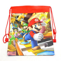 1pcs/lot Baby Shower Mochila Non-woven Fabric Boys Favors Super Mario Backpack Decorate Birthday Party Drawstring Gifts Bags