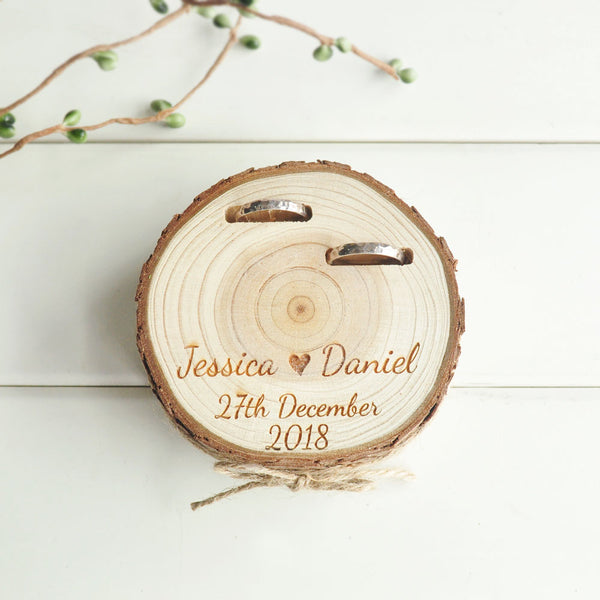 Customized Wedding Gifts Ring Bearer Box Personalized Ring Holder Nature Wood Slice Ring Box For Engagement