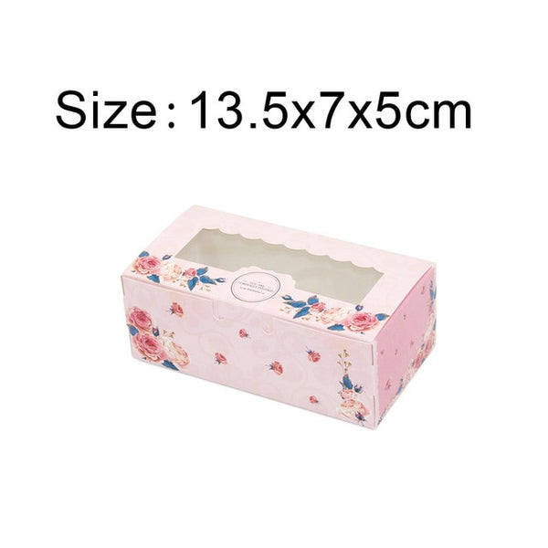 10 Pcs Paper Gift Box With Window Wedding Party Pink Rose Wreath Kraft Paper Box Cake Food Packaging Candy Cookies Cupcake