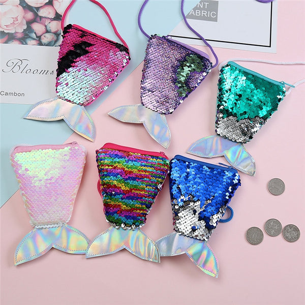 Mermaid Tail Sequins Coin Purse Wallet Bag Souvenirs Wedding Gifts for Guests Kids Bridesmaid Gift Party Favors Present Supplies