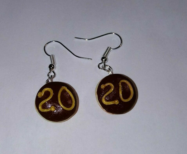Graduate Donut Earrings Silver Wire Chocolate Frosted Gift Graduate 2020 Unique