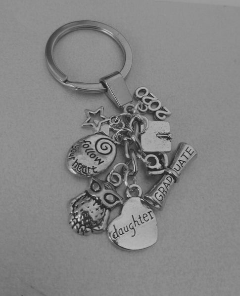Graduation Daughter Key ring, Follow your heart, scroll, Cap, owl 2020 gift box