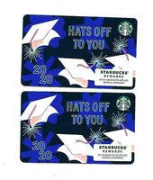 2 Starbucks Gift Cards No Cash Value Graduation 2020 Hats off to you