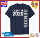 Cute Senior 2020 Class of 20 Blue and White Graduation Gift TShirt