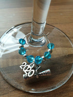Graduation 2020 Wine Glass Charms Crystal Beaded Graduate Scroll Gift