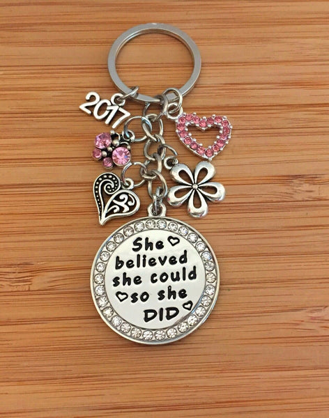 She Believed She Could So She Did - Graduation Keepsake Gift Keyring 2020