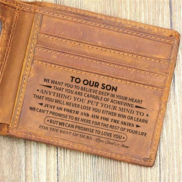 To OUR Son From Mom & Dad Wallet Gift For Son 2020 Birthday Graduation Wedding