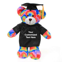 Customized graduation plush for her 2020 I love you gift Box Tie dye Bear 12""
