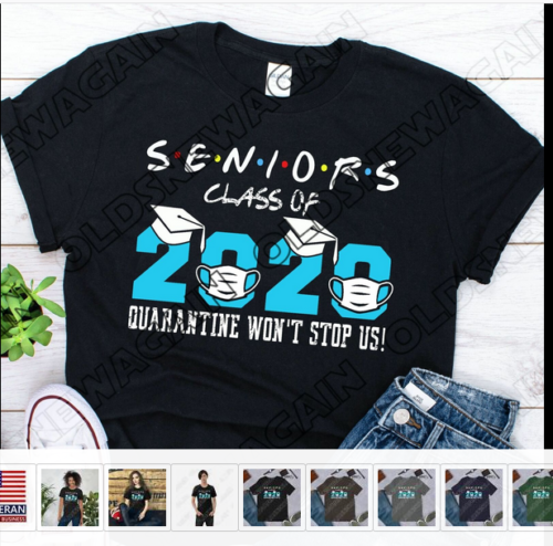 2020 Seniors Quarantine Graduation Class of 2020 T Shirt Gift Social Distancing
