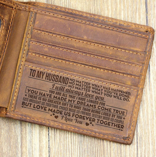 Wife To Husband Leather Wallet 2020 Birthday Graduation Anniversary Wedding Gift