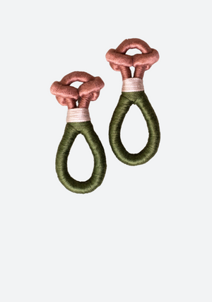 Rama Loop Earrings in Salmon and Hunter