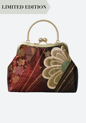 Jadeite Obi Silk Handbag in Red Kiku