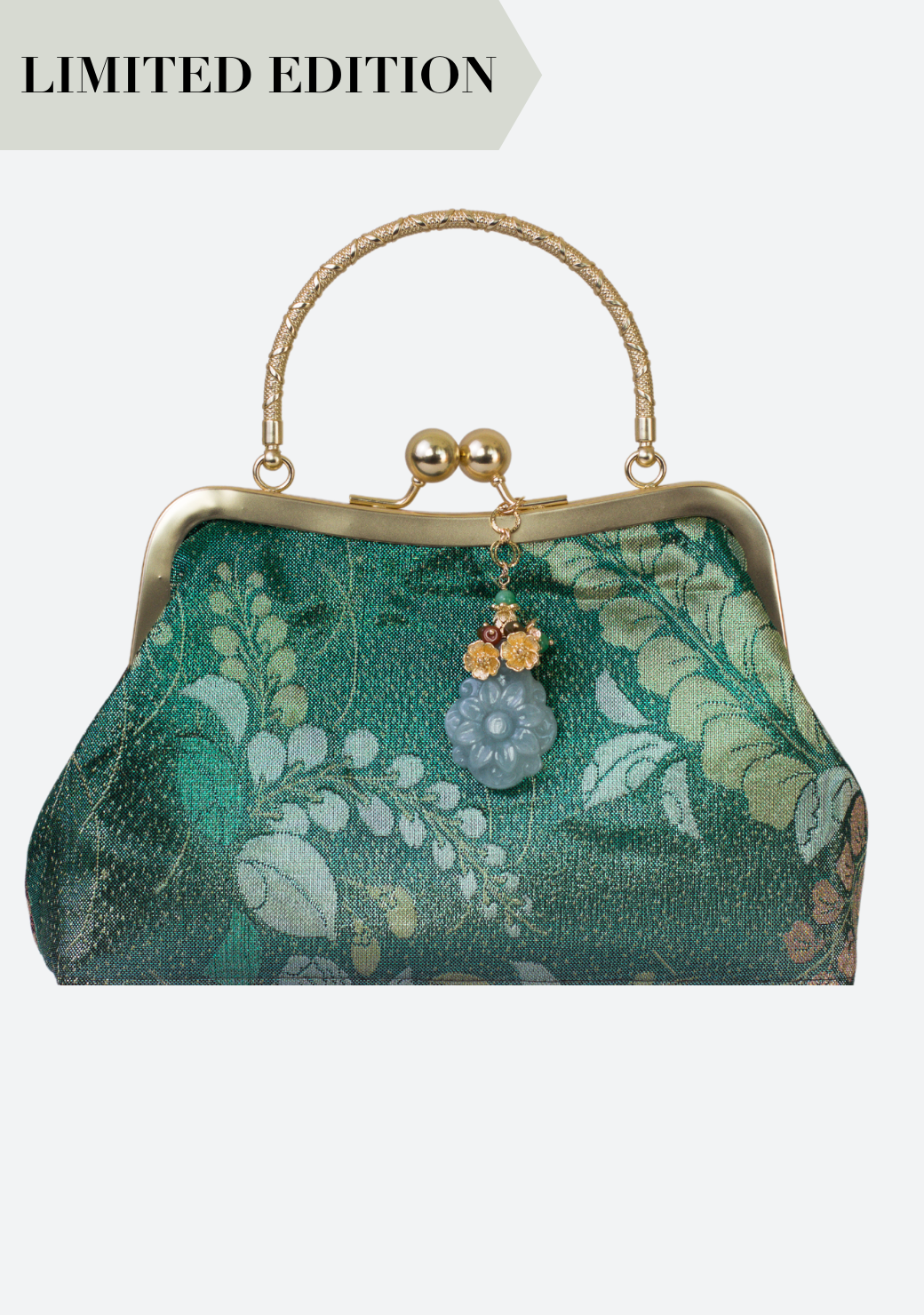 Jadeite Obi Silk Handbag in Red Green Flower