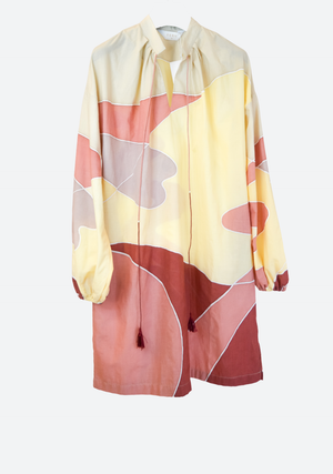 Abstract Sahara Souk Dress in Warm Tones