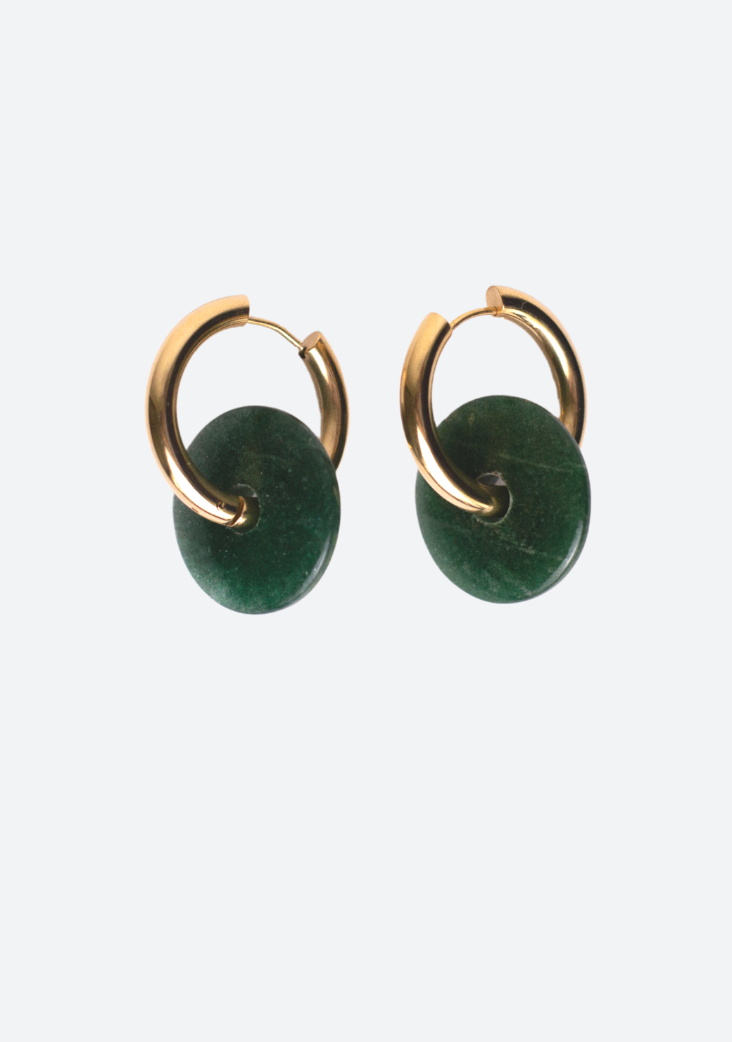 Big Yara Earring in Natural Green Jade