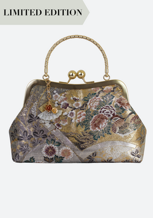 Jadeite Obi Silk Handbag in Gold Botan