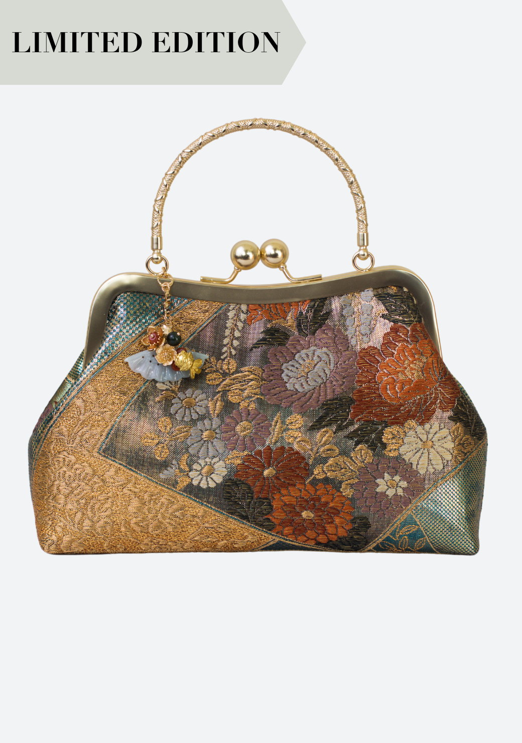 Jadeite Obi Silk Handbag in Green Botan
