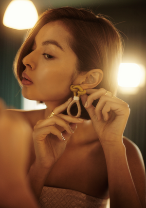 Rama Loop Earrings in Gold and Sand