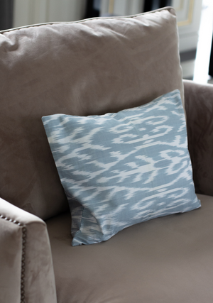 Small Cushion Cover in Ice Blue & White