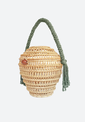 Natural MONY Bag with Pastel Green Macramé Handle
