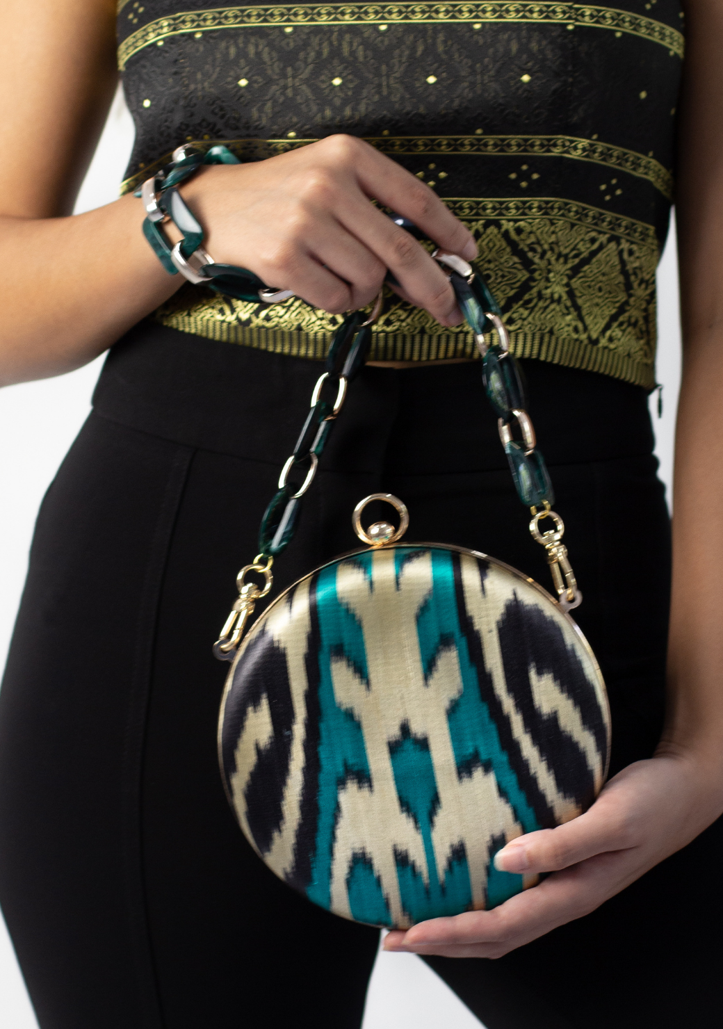 Putri S Bag in Metalic Gold & Teal