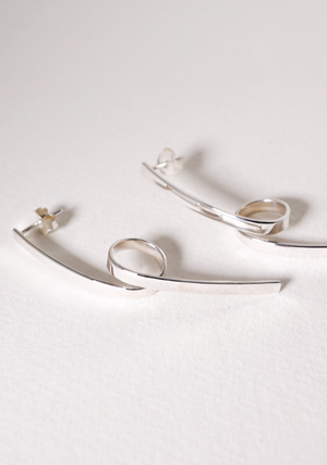 Twist Stem Silver Earrings