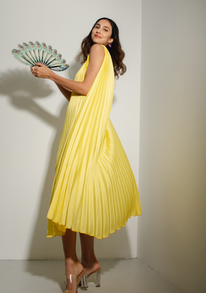 One Shoulder Hoop Dress in Lime Yellow