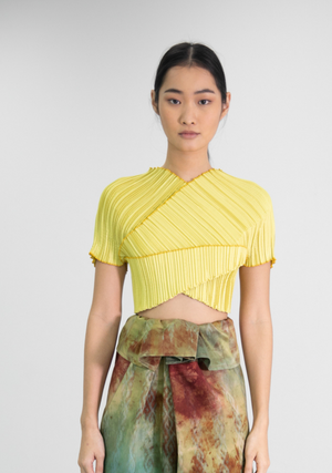 Pleated Wrap Top in Lime Yellow